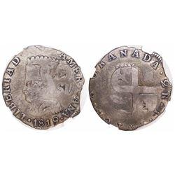 "Colombia, 2 reales ""chipi-chipi,"" 1819JF, struck over a Venezuelan imitation-cob 2 reales dated ""471"