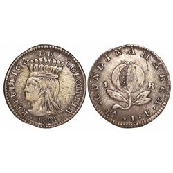 Bogota, Colombia, 1 real, 1821JF, mintmark BA with • below A.