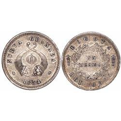 Bogota, Colombia, 1 decimo, 1854.