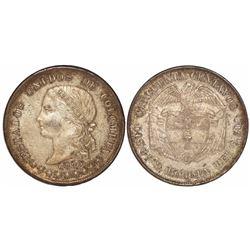Bogota, Colombia, 50 centavos, 1885, fineness 0.500.
