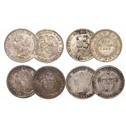 Lot of 4 Colombian 2 decimos, various mints and dates: Popayan 1867 (fineness 0.835); Medellin 1870,