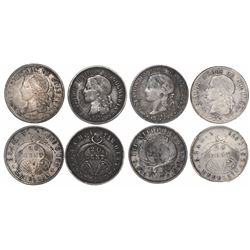 Lot of 4 Medellin, Colombia, 20 centavos, various dates: 1876 (two varieties), 1877 and 1882.