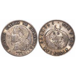 Medellin, Colombia, 20 centavos, 1885, fineness 0.835/500.