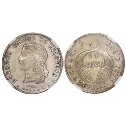 Medellin, Colombia, 20 centavos, 1886, fineness 0.500, large space between 5 and 500, encapsulated N
