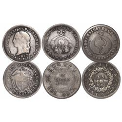 Lot of 3 Colombian 1 decimos, various mints and dates: Popayan 1863; Bogota 1866 (fineness 0.900) an