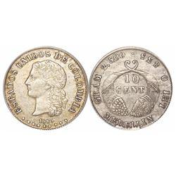Medellin, Colombia, 10 centavos, 1885, fineness 0.835, encapsulated ANACS AU 50, ex-Dana Roberts.
