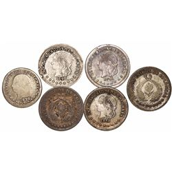 Lot of 6 Colombian 1/2 decimos, various dates and mints: Bogota 1863, 1867; Popayan 1870; and Medell