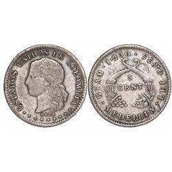 Medellin, Colombia, 5 centavos, 1874, fineness 0.835.