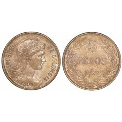 Colombia, copper-nickel 5 pesos p/m, 1909-A.M..