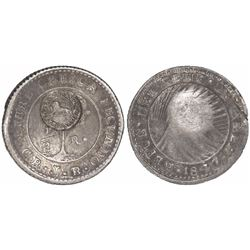 "Costa Rica, 1/2 real ""lion"" countermark (Type VI, 1849-57) on a Costa Rica (Central American Republi"