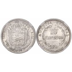 Costa Rica (struck in England), 10 centavos, 1890-HEATON-BIRMM, encapsulated NGC MS 62.