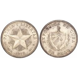 Cuba, 1 peso, 1915, high-relief star.