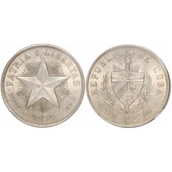 "Cuba, 1 peso (""star"" peso), 1934, encapsulated NGC MS 62."