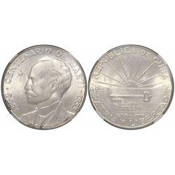 Cuba, 1 peso, 1953, Martí centennial, encapsulated NGC MS 64.