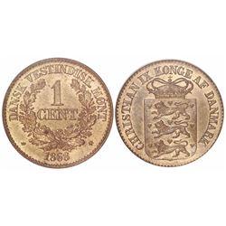 Danish West Indies, bronze 1 cent, 1868, encapsulated ANACS MS 63, ex-Dana Roberts.