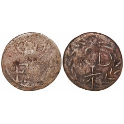 Contemporary counterfeit of a Santo Domingo, Dominican Republic, copper 1/4 real (cuarto), Ferdinand