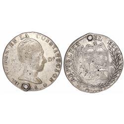 Quito, Ecuador, 4 reales, 1845MV-A, rare one-year type.