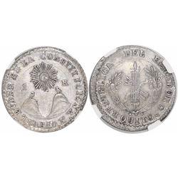 Quito, Ecuador, 1 real, 1840MV, rare, encapsulated NGC AU 58, with WINGS silver sticker, finest know