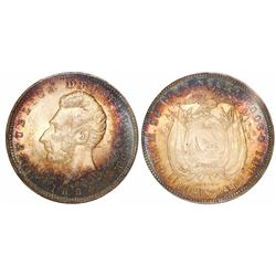 Ecuador (struck in England), 1 sucre, 1884-HEATON / BIRMINGHAM, encapsulated PCGS MS62.