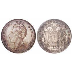 Ecuador (struck in England), 1 decimo, 1890-HEATON / BIRMINGHAM, encapsulated ANACS MS 63.