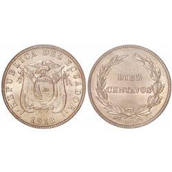 Ecuador (struck in Philadelphia), copper-nickel 10 centavos, 1918, encapsulated NGC MS 65, ex-Gilman