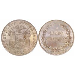 Ecuador (struck in Philadelphia), copper-nickel 5 centavos, 1917, encapsulated PCGS MS65, ex-Gilman.