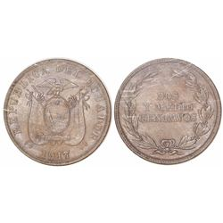 Ecuador (struck in Philadelphia), copper-nickel 2-1/2 centavos, 1917, encapsulated NGC MS 64, tied f