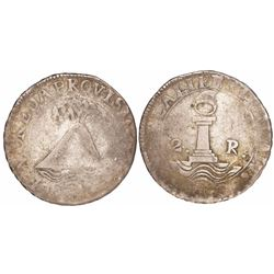 San Salvador, El Salvador, 2 reales, date and assayer not visible (1828F or FP).
