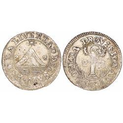 """San Salvador, El Salvador, 2 reales, 1832, no assayer, retrograde S's for mintmark, error """"LIVERTAD"""""""