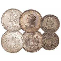 Lot of 3 El Salvador Columbus silver coins: two 1 peso 1894CAM and 1911CAM, and one 50 centavos 1892