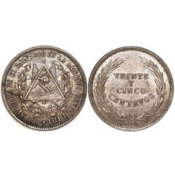 El Salvador (struck in Philadelphia), 25 centavos, 1914, 15 DE SEPT DE 1821 inside triangle.