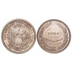 El Salvador, 10 centavos, 1892-CAM, ANACS AU 58.