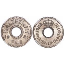 Fiji (British administration), copper-nickel 1/2 penny, 1941, encapsulated NGC 67, tied for finest k