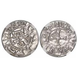 France (Carolingians), denier, Charles the Bald (840-875), Le Mans mint, encapsulated NGC MS 61.