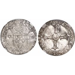 France (Nantes mint), 1/8 ecu, Louis XIII, 1603-T, encapsulated NGC MS 62, probably finest known in