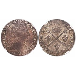 France (Nantes mint), 1/4 ecu, Louis XIV, 1707T, encapsulated NGC XF 45.