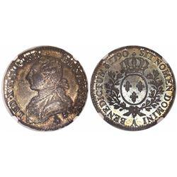 France (Paris mint), 1/2 ecu, Louis XVI, 1790-A, encapsulated NGC MS 63.