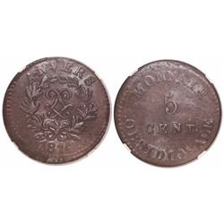 Antwerp under France (Napoleonic siege coinage), copper 5 centimes, 1814, wide LL, JLGN on ribbon, e