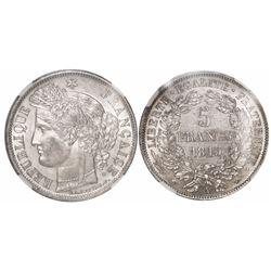 """France (Paris mint), 5 francs, 1849-A, """"Ceres"""" type, encapsulated NGC AU 58."""