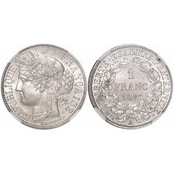 France (Paris mint), 1 franc, 1888-A, encapsulated NGC MS 63.