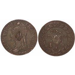 French West Indies (?), fleur-de-lis countermark on a Paris, France, copper 5 centimes, L'an 8/5 (17