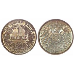 Germany (Empire), 1 mark, 1914-JJ, encapsulated PCGS MS67 (old green tag).