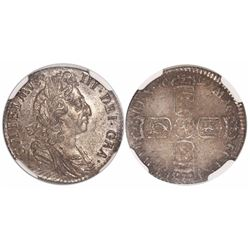 Great Britain (London, England), sixpence, William III, 1697, third bust, large crowns, encapsulated