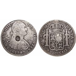 Great Britain, one dollar, oval George III countermark (1797-99) on a Mexican bust 8R 1792FM.