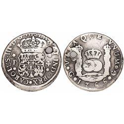 Guatemala, pillar 4 reales, Charles III, 1766P.