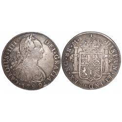 Guatemala, bust 8 reales, Charles IV, 1792M.