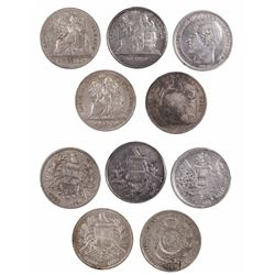 Lot of 5 Guatemala 1-peso coins: 1864R (Carrera), 1872, 1894, 1896 and 1/2R counterstamp 1894 on a P