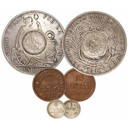 Lot of 3 miscellaneous Guatemala coins: 1/2R counterstamp (1894) on a Lima, Peru, 1 sol of 1890TF; 1