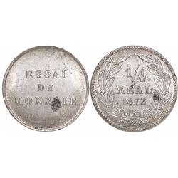 Honduras, pattern aluminum 1/4 real, 1872.