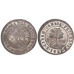 Tegucigalpa, Honduras, low-silver 4 reales (provisional), 1851G.